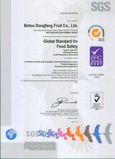 2012年BRCSGS认证
