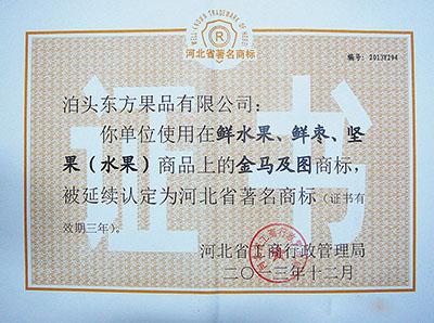 2013年金马著名商标证书